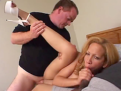 Pussy Creampie In Threesome With Big Boobed Blonde.