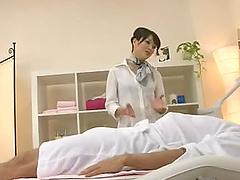 Japanese woman massage therapist rides..