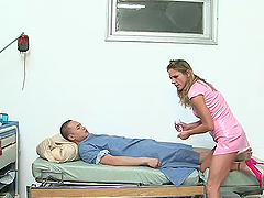 Lewd nurse Amanda Blow cures a patient..