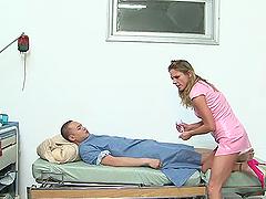 Lewd nurse Amanda Blow cures a patient..