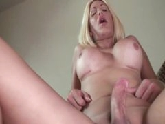 POV bareback anal with hot busty shemale