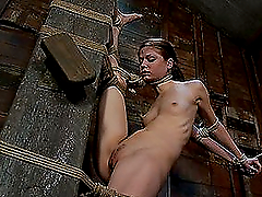 Skinny Brunette Fucked and Hogtied to..