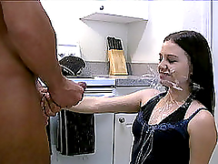 Sexy young chick gets her face covered..