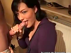 Adorable brunette gives blowjob and..