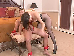 Bobbi Starr sits on the guy's face in..