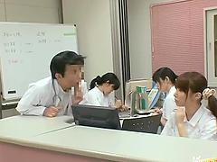 Horny Japanese nurse gives a handjob..