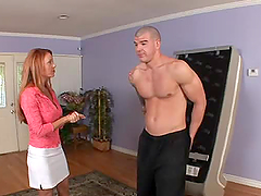 Janet Mason pleases a guy with a blowjob and rides his hard dick