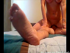 Long-haired blonde babe rides a dick..
