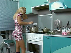 Blonde tease in kitchen ends up with a..