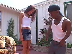 Ebony slut Kitty takes a BBC in her..