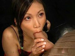 Cute girl in pigtails sucks dick and..