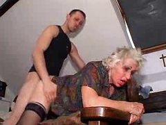 Young man bangs granny for his pleasure
