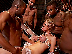 Blonde Hottie Surrounded By Big Black..