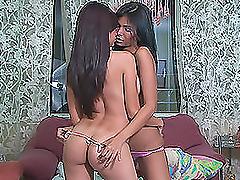 Foxy Brunette Teen Lesbians Kissing in..