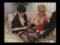 Two chubby grannies in lingerie going at each other