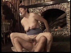 Hard cock slamming up into a hairy old pussy