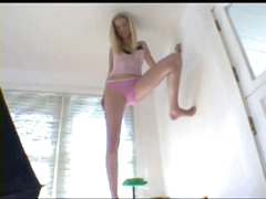 Tall teen strips from skirt and top