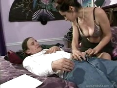 Milf peels off panties for hot sex