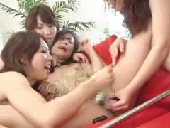 Japanese lesbian femdom with wild play..