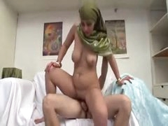 Busty natural Arab chick fucked hard