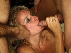 Lots of cumshots land on the blonde slut