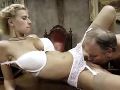 Old fat man fucks a hot blonde in..
