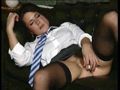 Schoolgirl with hairy pussy strip and..