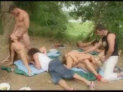 Sizable sex party outdoors is hot stuff