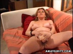 Busty mature amateur wife toying her..