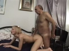 Hairy old guy fucks skinny little..