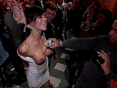 Horny Brunette in a Wild BDSM Party
