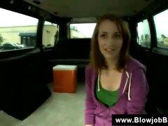 Redhead blowjob in a bus
