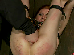 Pretty Brunette Red Ass Spanking and..