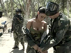 Paintball Match Ends with a Big Cock Inside Jessica Jaymes' Pussy
