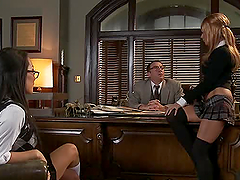 Awesome Cum Swapping Office Threesome..