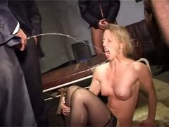 Blonde used hard and pissed on