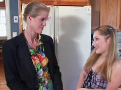 Lovely mum is strapon fucked by teen