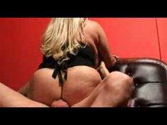 Fat blonde in stockings taking dick in..
