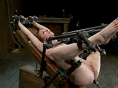 Brunette Gets All Wet In Hot Bondage..