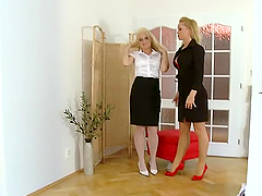 Two smoking hot blond babes Silvia and..