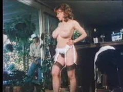 Dude jerks off outdoors as retro babe..