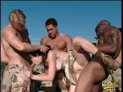 Military men gangbang Kristina Black..