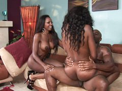 A Cum Load For These Babes' Tits After An Ebony Threesome