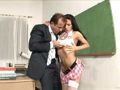 Slutty Student Rides Her Teacher's Big Cock In Class