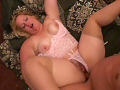 Chubby Blonde In Sexy Lingerie Gets A..