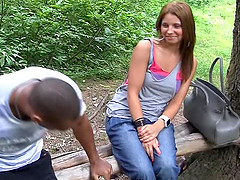 Two Dicks Fucking an 18-Year-Old in Outdoors MMF POV Threesome