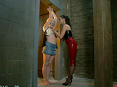Dominant Brunette Playing with a Blonde MILF In Lesbian BDSM Vid