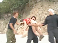 Asian Gets Gangbanged and Covered in Cum on the Beach Against Her Will