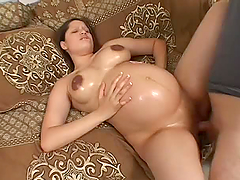 Horny Preggo Is Oiled Up And Fucked By..