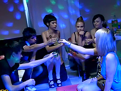 Two Horny Party Girls Sharing a Cock